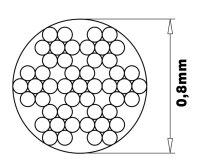 Stahlseil, kunststoffummantelt 0,8mm lfm