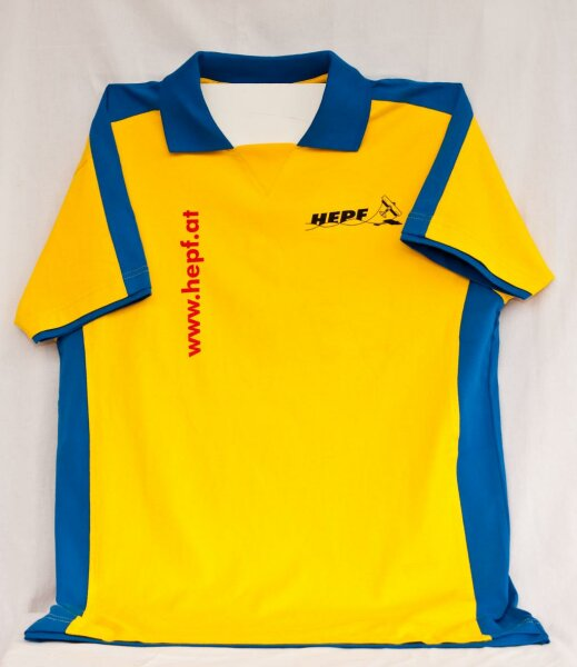 gelb/blaues T-Shirt im HEPF-Design (XS)