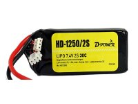 D-Power HD-1250 2S Lipo (7,4V) 30C mit T-Stecker