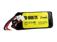 D-Power HD-1600 2S Lipo (7,4V) 30C mit T-Stecker