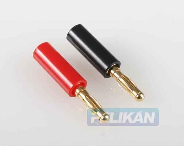 Labor-Stecker 4mm vergoldet mit Sicherungsschraube (rot und schwarz)