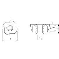 M4 Einschlagmutter M4x8 verzinkt mit 4 Einschlagspitzen (10 Stück)