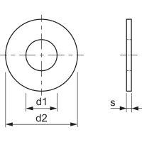 M3 verzinkt Scheibe ohne Fase DIN 134 (25 Stück)
