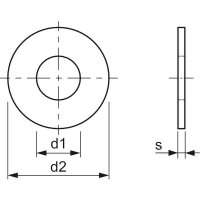 M4x0,8 PA 6.6 Polyamid Scheibe natur DIN34815 (~ISO7089/~DIN125) (30 Stück)