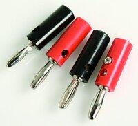 Labor-Stecker 4mm in Silber (rot und schwarz) Turbo