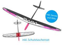 Kite CFK DLG/F3K Weiss/Pink 1500mm inkl. Schutztaschen