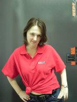 rotes Poloshirt mit Jeti Model Aufdruck in rot Gr. XL