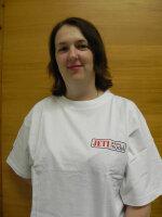 weißes T-Shirt mit Jeti Model Aufdruck in rot Gr. L
