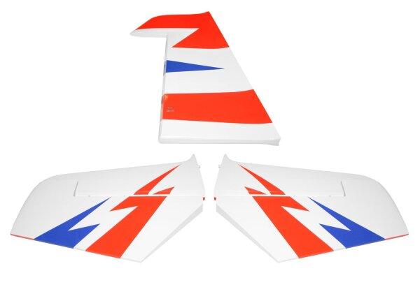 Höhen- und Seitenruder für Sebart 2.2m in weiß/blau