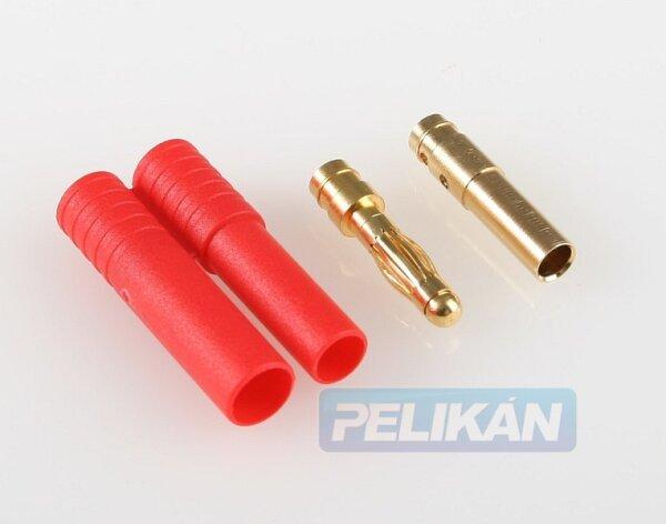 Goldsteckerpaar 4mm mit Sicherheitsgehäuse