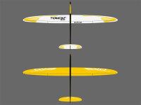RCRCM Tomcat Evo 2.5m Doppel-CFK Segler Weiss/Gelb, Rumpf...