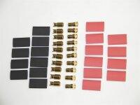 Goldkontaktstecker 6mm, 10 Paar inclusive Schrumpfschlauch