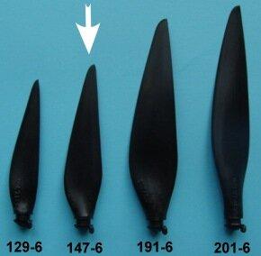 "Kohlefaser Propeller Blatt, Grösse 6A, Durchmesser 5,8"" (147mm)"