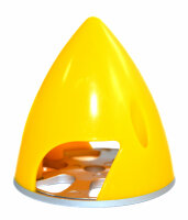 Kunststoffspinner mit Alugrundplatte D 77mm gelb
