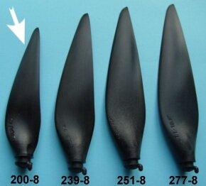 """Kohlefaser Propeller Blatt, Grösse 8B, Durchmesser 7,9"""" (200mm)"""