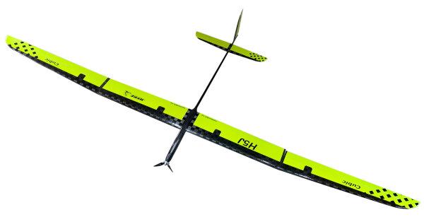 Hepf H5J 340cm Elektro Super-PNP F5J-Thermiksegler Glas-Carbon/Gelb inkl. Schutztaschen