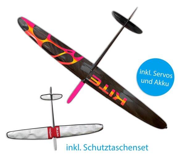 Kite PNP CFK DLG/F3K Pink/Gelb/Orange zweiteilige Fläche 1500mm inkl. Schutztaschen