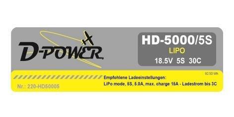 D-Power HD-5000 5S Lipo (18,5V) 30C mit XT 60 Stecker